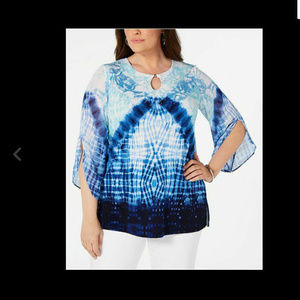 JM COLLECTION 1X Plus Size Embellished Blouse Top